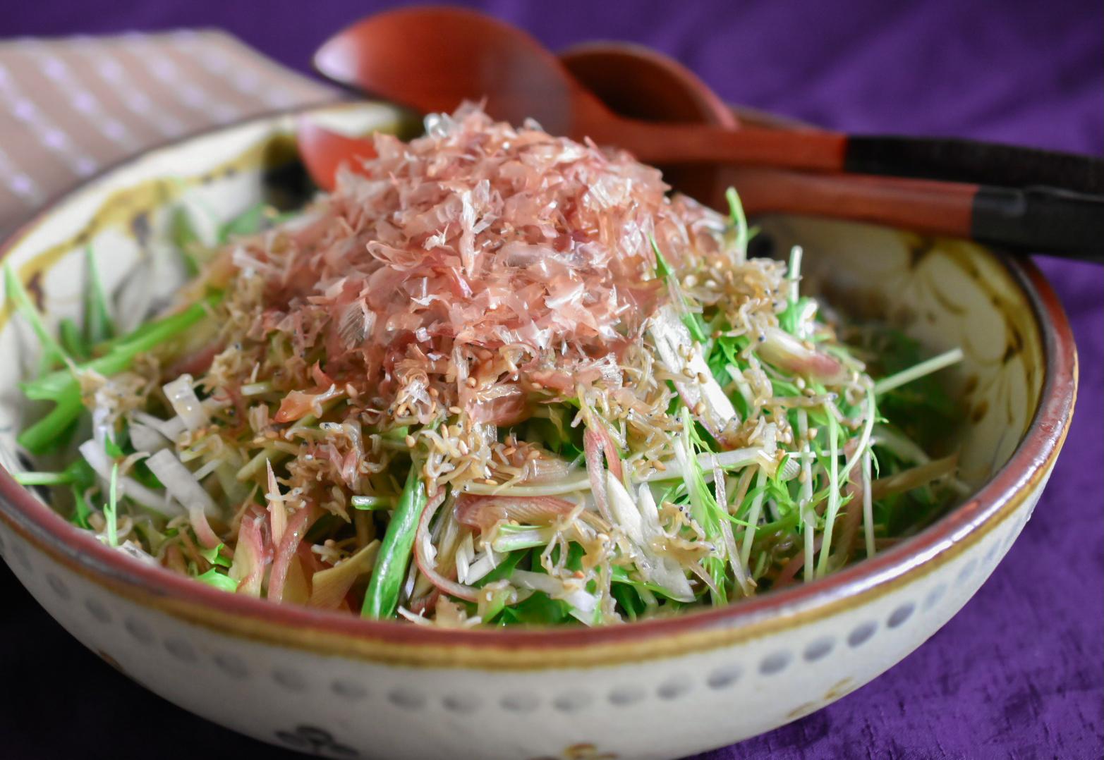 じゃこ山椒と水菜のはりはりサラダ