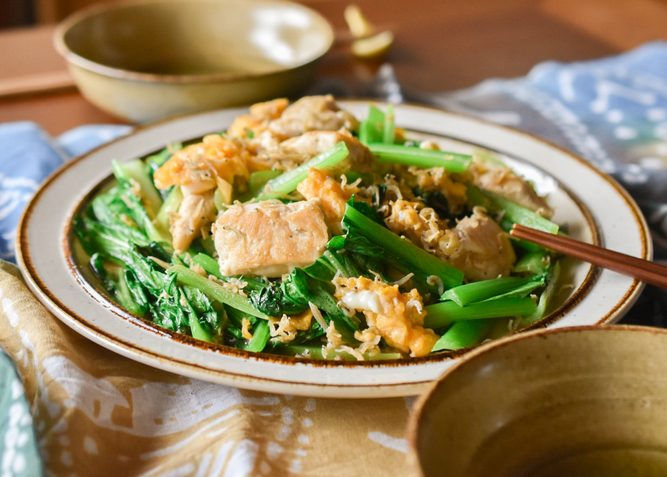 ササミと小松菜のじゃこ山椒炒め