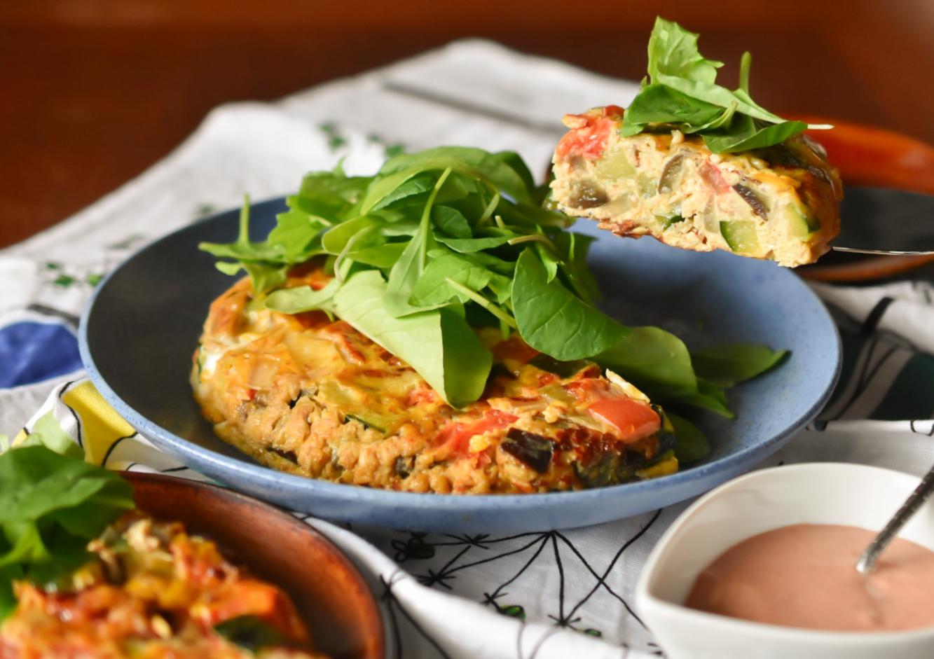じゃこ山椒と夏野菜のスパニッシュオムレツ